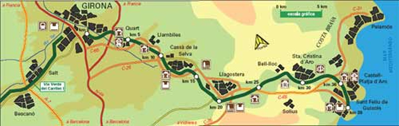 Carrilet Girona Sant Feli de Guxols Greenway Spanish Green